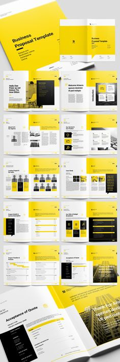 Yellow Proposal Brochure Layout with Black Accents.Buy this stock template and e… - My Design Ideas 2019 Booklet Design Layout, Leaflet Design, Flyer Layout, Book Layout, Print Layout, Layout Design, Home Design, Design Café, Design Studio