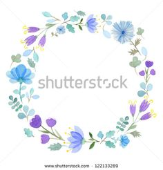 Watercolor flowers frame template #1
