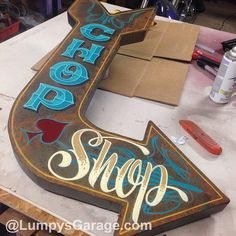 Worlds finest, real deal garage art by the originator by Lumpysgarage Hand Lettering Fonts, Graffiti Lettering, Painted Letters, Hand Painted Signs, Pinstripe Art, Pinstriping Designs, Signwriting, Vintage Metal Signs, Garage Art