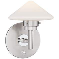 "Possini Euro Kanan 9"" High Satin Nickel LED Wall Sconce"
