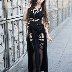 @ladysariel pic:@s.bajera  #altmodel #longhair #inkgirl #altfashion #harness #gothic #sexy #longdress #alternative #fashiondesign #strips #shoot #photoshoot #instagirl #glamour #beautygirl #hot #fashion #nugoth #urbangoth #askasu #blackdress #waist #tattoo
