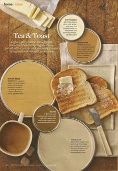 BHG Tea & Toast Color Palette. Add warmth to your home with this cozy and creamy paint color palette. Paint Colors Used: Soft Cream by Olympic Tatami Tan by Sherwin Williams Honey Beige by Glidden Matte by Pratt and Lambert Cuddle Up by Ace Hardware
