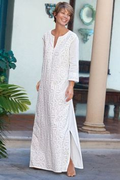 Contadora Caftan - Cotton Caftan, Caftan, Side Slits | Soft Surroundings: