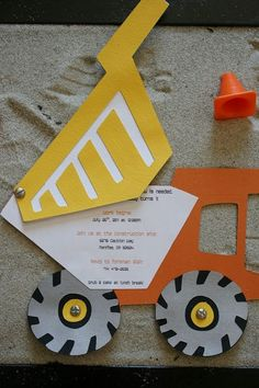 Construction party invitations… this is adorable, and I could totally do that! Construction party invitations… this is adorable, and I could totally do that! Construction Party Invitations, Construction Birthday Parties, 4th Birthday Parties, Birthday Fun, Third Birthday, Birthday Ideas, Birthday Banners, 1st Birthdays, Birthday Party Invitations