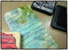 """day 6"" -tim holtz(c) 2008supplies: craft sheet, adirondack alcohol inks/cranberry, red pepper, ginger, lettuce, meadow, stream, wild plum, adirondack blending solution, adirondack paint …"