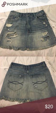 Distressed mini skirt Super cute denim mini!! Abercrombie & Fitch Skirts Mini