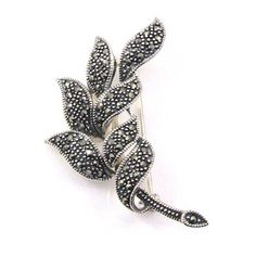 Marcasite and Sterling Silver Leaf Corsage Brooch