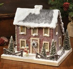 Putz Houses | Colonial Saltbox Red Putz Christmas Lighted House Primitive Tablepiece