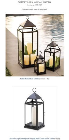 COPY CAT CHIC FIND: Pottery Barn's Malta Lantern VS Amazon's Large Contemporary Hanging Metal Candle Holder Lantern, $9.95