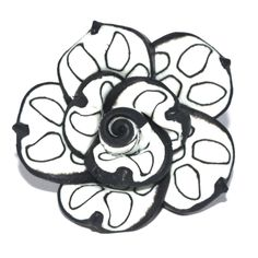 1 x 20mm Polymer Rose Bead - BLACK