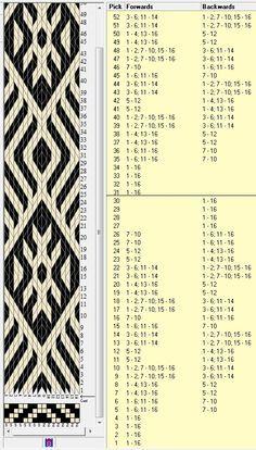 16 Karten, 2 Farben, alle 30 Bewegungen wiederholen // designed in GTT ¼ . Card Weaving, Weaving Art, Loom Weaving, Basket Weaving, Inkle Weaving Patterns, Loom Patterns, Finger Weaving, Inkle Loom, Willow Weaving