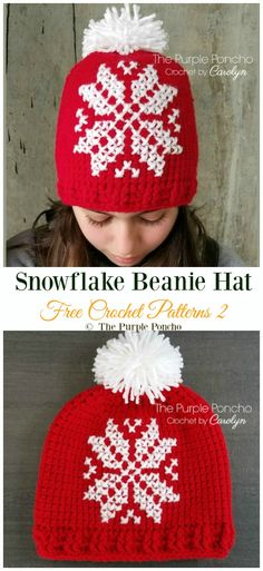 Winter Snowflake Hat Free Crochet Patterns & DIY Instructions - Crochet and Knitting Tapestry Crochet, Crochet Yarn, Free Crochet, Blanket Crochet, Crochet Christmas Hats, Christmas Beanie, Knitting Patterns, Crochet Patterns, Hat Patterns