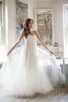 Classic lace embroidered tulle wedding dress: http://www.stylemepretty.com/new-york-weddings/staatsburg/2016/03/04/warm-rustic-upstate-new-york-fall-wedding/ | Photography: Christian Oth - http://www.christianothstudio.com/