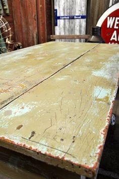 Patina on an old farmhouse desk.