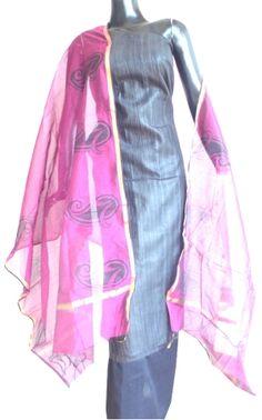 Hand Block-Print Dupatta & Matka Silk Kurta Set- Black and Pink