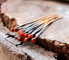 22 Gauge Copper Headpins Set Orange Enameled Ball end Rustic Headpins