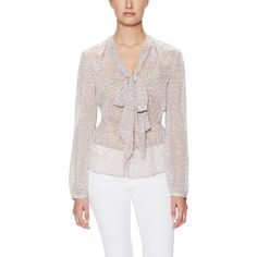 Marchesa Voyage Bow Neck Blouse ($149) ❤ liked on Polyvore featuring tops, blouses, pink, graphic tops, bow neck blouse, print blouse, layered blouse and pussy bow blouses