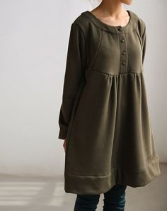Love respiratory/ Loose doll cotton knee length dress by MaLieb, $89.00