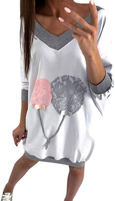 Bekleidung, Damen, Kleider, Freizeit Lace Balloons, Summer Outfits, Girl Outfits, Summer Clothes, Outfits Damen, Printed Sweatshirts, Hoodies, Jumper Dress, Pullover