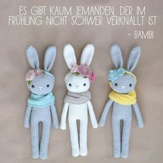 "✖es gibt kaum jemanden, der im Frühling nicht schwer verknallt ist✖ … ""There is hardly anyone who does not have a crush on the spring"" feelings Crochet Amigurumi, Amigurumi Patterns, Crochet Dolls, Crochet Yarn, Crochet Animal Patterns, Stuffed Animal Patterns, Easter Crochet, Cute Crochet, Handmade Stuffed Animals"
