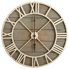 I'm in love with this Oversize Gray Rustic Wall Clock. Perfect for rustic or farmhouse style. Love this wood look wall decor! Big Wall Clocks, Rustic Wall Clocks, Farmhouse Wall Clocks, Wood Clocks, Rustic Walls, Farmhouse Decor, Rustic Wood, Farmhouse Style, Joanna Gaines