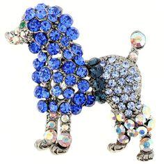 Capri Blue Poodle Pin Animal Pin Brooch