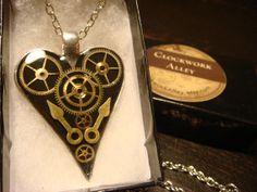 Clockwork Heart with Gears Steampunk Pendant by ClockworkAlley, $23.00  #steampunk #steampunkjewelry #jewelry #necklace #heart #gears #clockwork