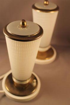 Pair of 50s Lamps Mid Century Stilnovo Style White brass