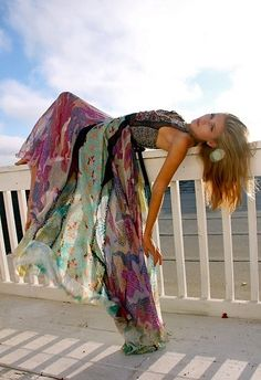 Hippie Style ♥ - :      Buy coordinating scarves and turn it into a dress using an amazing fabric for the top :)