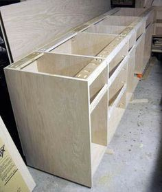 Tricks and Tips for Better Built-in Cabinets. Part furniture, part trim carpentry, built-in cabinets require that you fit square project… Diy Projects Kitchen Cabinets, Kitchen Cabinet Makers, Building Kitchen Cabinets, Kitchen Cupboard Doors, Cabinet Making, Shop Cabinets, Built In Cabinets, Diy Cabinets, Garage Cabinets