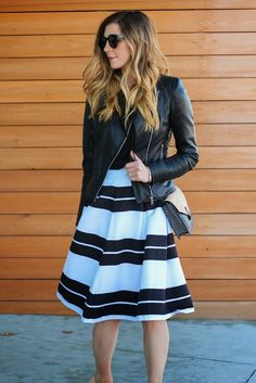 Love this bold striped midi skirt. Pair it with a leather jacket to add some edge to this classic style.