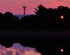 Space Needle at the sunset from