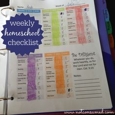 Weekly homeschool checklist: a great way to teach accountability, good work ethic, and time management.