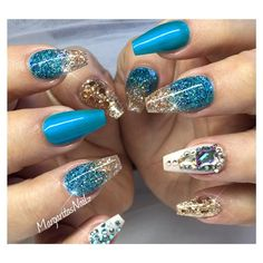 Blue And Rose Gold Glitter coffin Nails Fall Fashion 2016