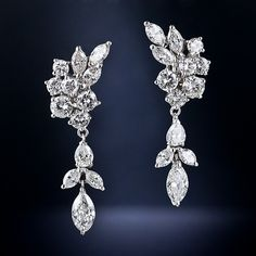 Mid-century vintage drop earrings with pear & marquise cut diamonds from Lang Antiques.