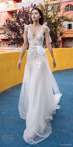 liz martinez 2018 lisbon sleeveless deep v neck heavily embellished bodice tulle skirt romantic a line wedding dress open scoop back chapel train (14) mv -- Liz Martinez Wedding Dresses 2018
