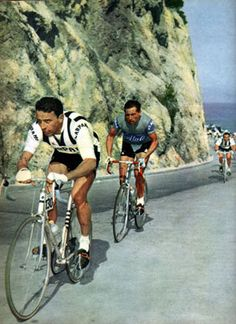 1959 Milan-San- Remo Agostino Coletto (Carpano) is seen forcing the pace followed by Vito Favero (Atala-Pirelli).