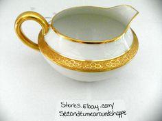 Limoges France C Ahrenfeldt Porcelain Creamer White w/Gold Band & Trim Patented #Limoges