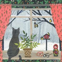 cat illustration by Saara Katariina Art And Illustration, Illustrations And Posters, Photo Images, Guache, Naive Art, Cat Drawing, Whimsical Art, Belle Photo, Cat Art