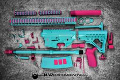 Robin's Egg Blue and Custom Pink on this Unicorn build. DISCLAIMER: It's either a righteous shooting or it's not. Whether the gun is black pink or blue it should be kept out of the hands of children unless they are under direct supervision of their parent or responsible adult. MAD Custom Coating encourages parents to train their children in the safe and lawful use of firearms. Thank you. #cerakoteMADness #unicorn #pink #tiffanyblue #cerakote #legos #America #USA