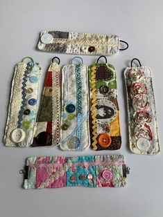Fabric Beads, Fabric Art, Fabric Scraps, Linen Fabric, Denim Scraps, Fabric Sewing, Textile Jewelry, Fabric Jewelry, Fiber Art Jewelry