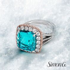 Kicking off the first #MondayBlues of 2015 with this glistening Paraiba ring! What Blue stone would you like us to feature next week?  Featured Style: MR2557-A  #SimonG #Fashion #Jewelry #Paraiba
