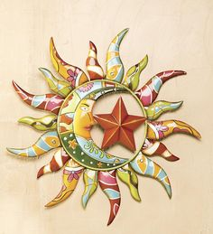 Talavera Painted Metal Sun And Moon Outdoor Wall Art Sun Moon Stars, Sun And Stars, Large Metal Wall Art, Metal Art, Outdoor Wall Art, Outdoor Rooms, Outdoor Living, Talavera Pottery, Sun Designs