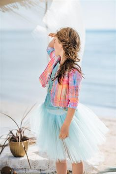 Girl`s multi - colored bolero, turquoise tulle skirt and turquoise kimono. Boy Fashion, Spring Fashion, Fashion 2016, Kids Dress Collection, Dope Outfits, Boho, My Princess, Beautiful Children, Dope Clothes