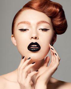 black makeup - lips, eyes and nails