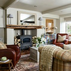Traditional living room wood burning stove | Heritage room schemes | PHOTO GALLERY | Housetohome