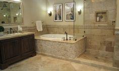 grey bathroom units with travertine stone - Google Search