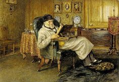 Allingham, Helen (1848-1926) Thomas Carlyle reading in the drawing room, 1878