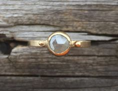 Rose Cut Diamond Ring in 14k Yellow Gold. Unique, silver gray round bezel set diamond engagement ring. by LoMoStudio on Etsy