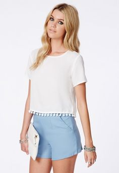 Rosy Pom Pom Detail Shell Top - Shell Tops - Missguided